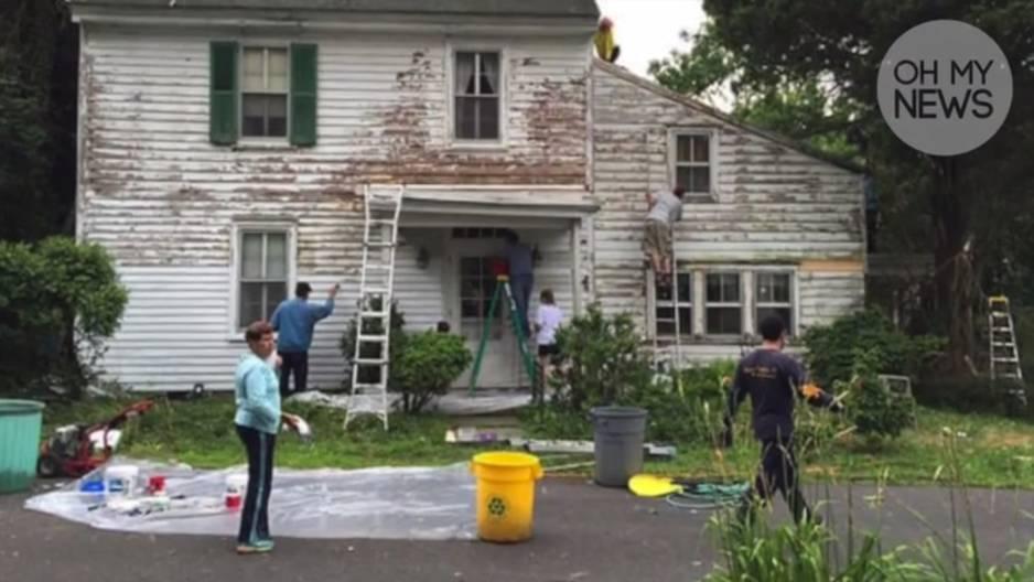Überraschung: So toll renovieren Nachbarn heimlich ein heruntergekommenes Haus