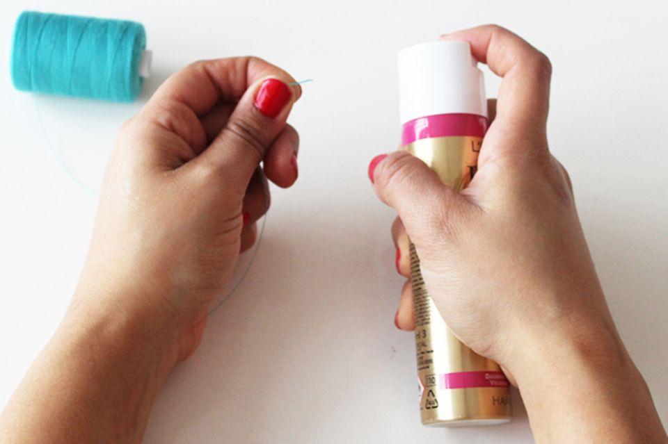 Nähen für Anfänger: Haarspray verwenden