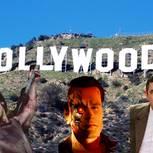 Hollywood-Stars Silvester Stallone, Arnold Schwarzenegger, Rowan Atkinson