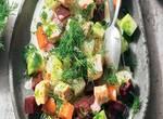 Gemüse-Lachs-Salat mit Buttermilch-Dressing und Dill