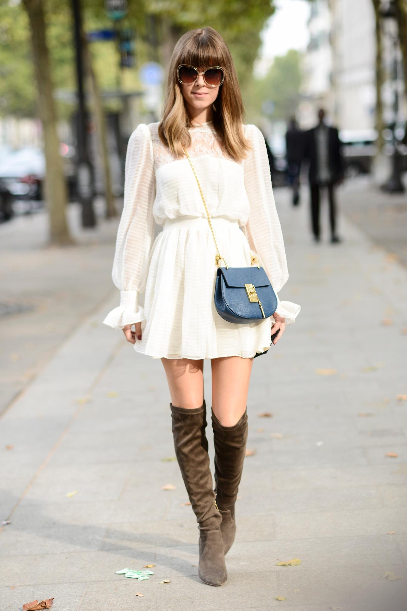 Weiße Kleider: geht auch zu derben Overknees