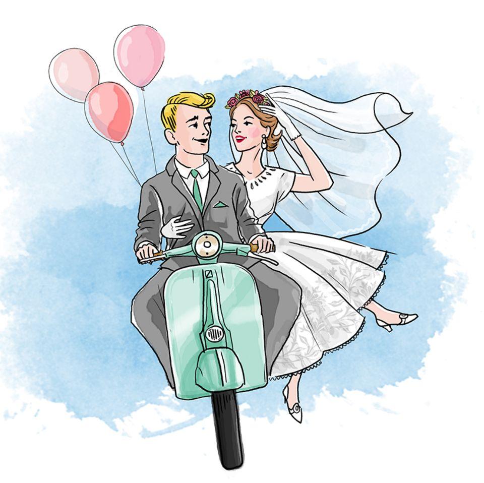 Ehetipps aus den 50ern: Paar auf Roller
