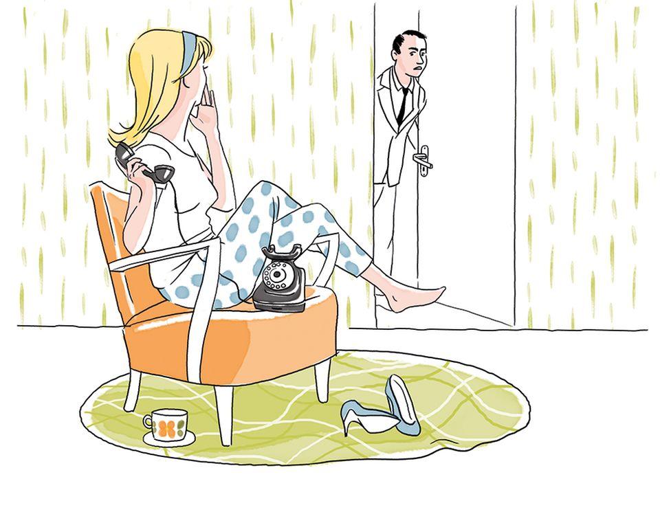 Ehetipps aus den 50ern: Frau telefoniert