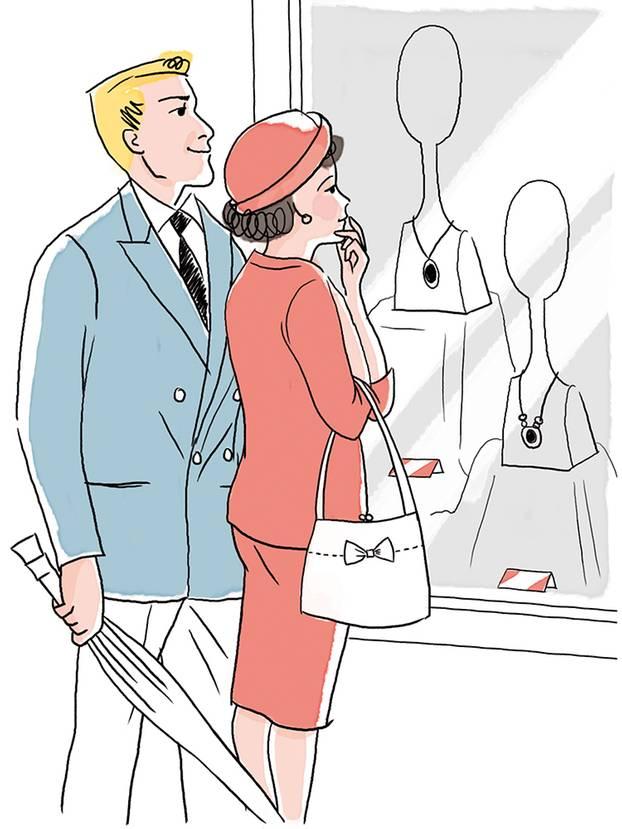 Ehetipps aus den 50ern: Paar beim einkaufen