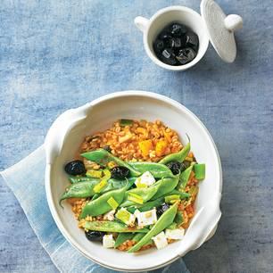 Gerstengraupen-Pilaw mit Senfbohnen
