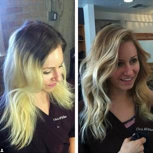 Frau mit einem Haarunfall