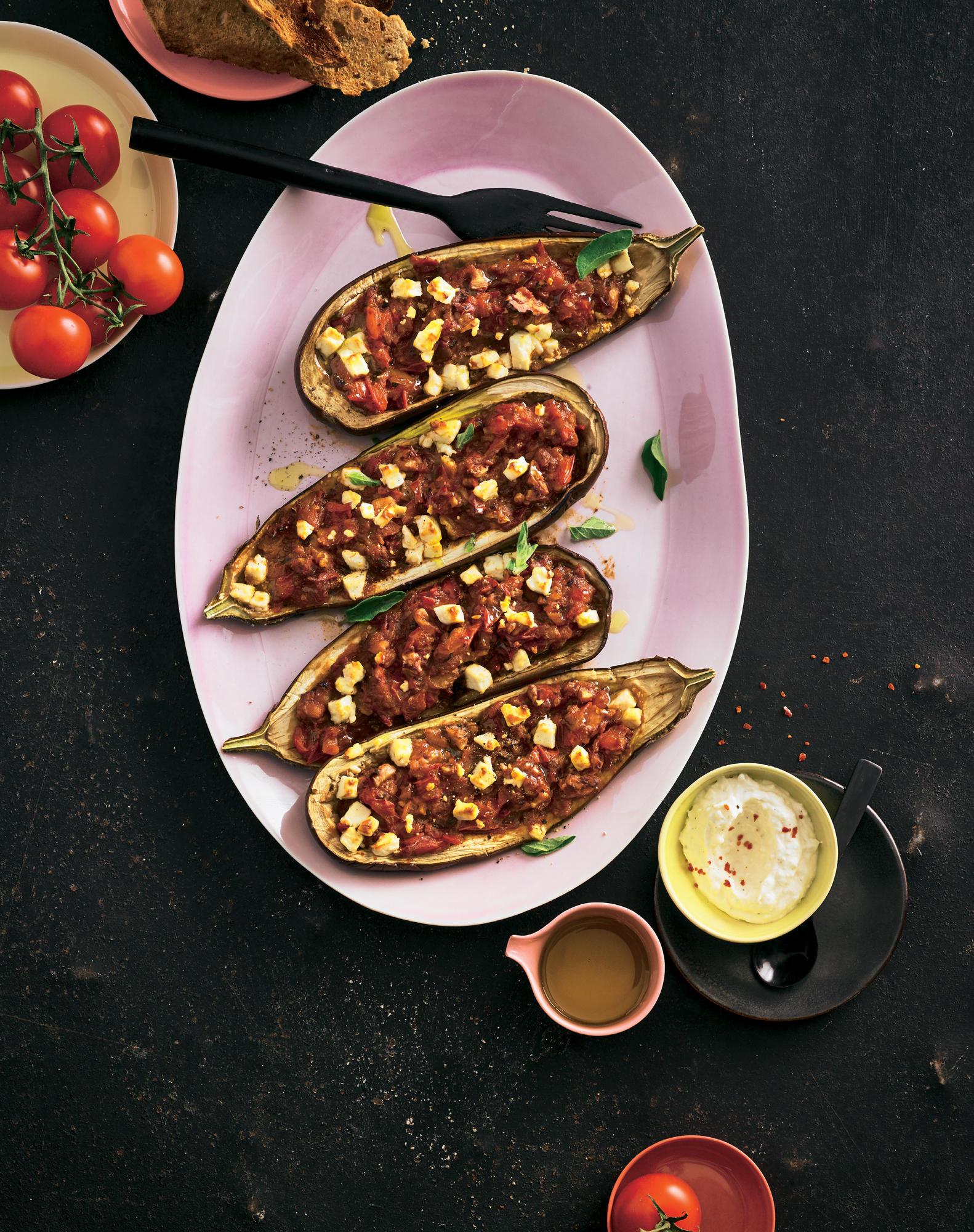 Gefüllte Aubergine mit Feta-Joghurt