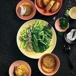 Grüne Tomaten mit Salsa und Koriander-Dip
