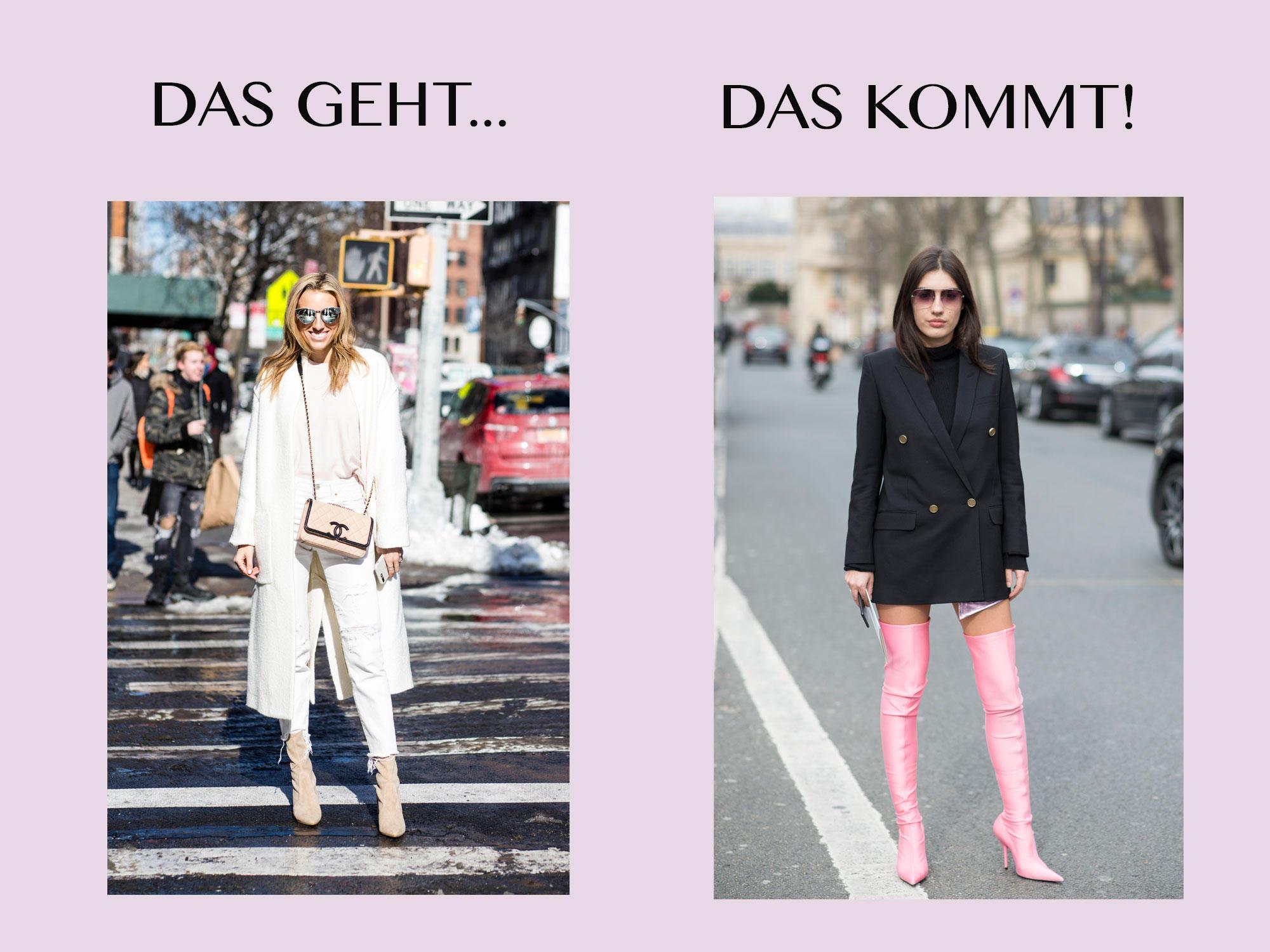 Bloggerin trägt Stiefellette links und rechts Overknees