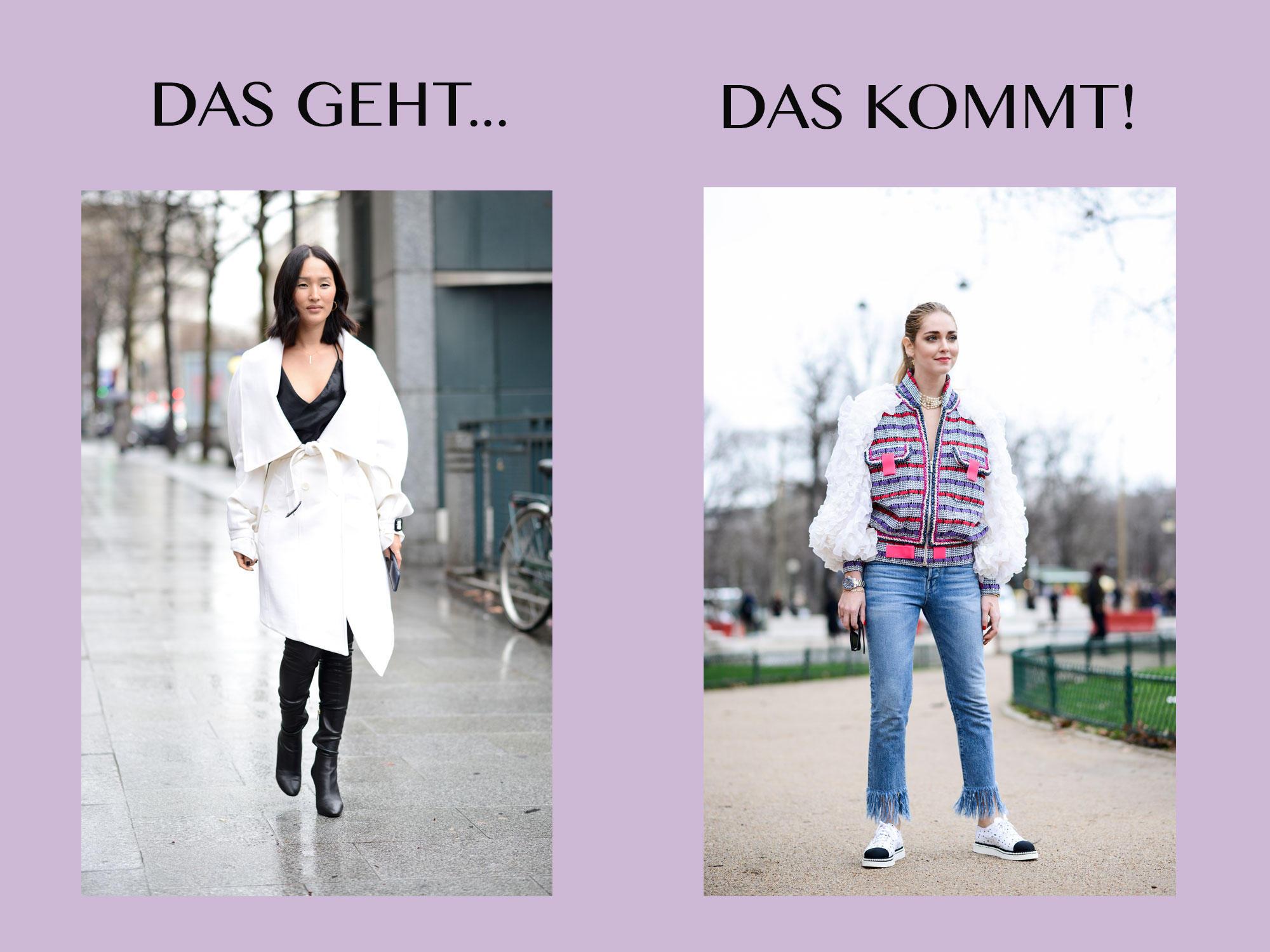 Bloggerin trägt schlichtes Outfit links und rechts eins mit einer Statement-Jacke
