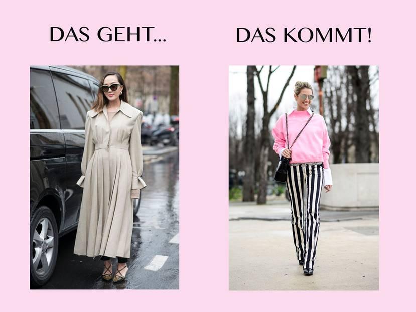 Bloggerin trägt links Beige und rechts Pink