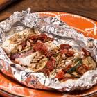 Grillpäckchen mit Aubergine, Zucchini und Feta