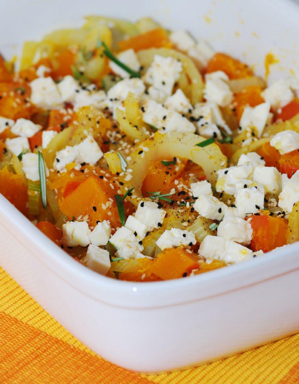 Kürbisauflauf mit Kürbis-Fenchel-Gemüse