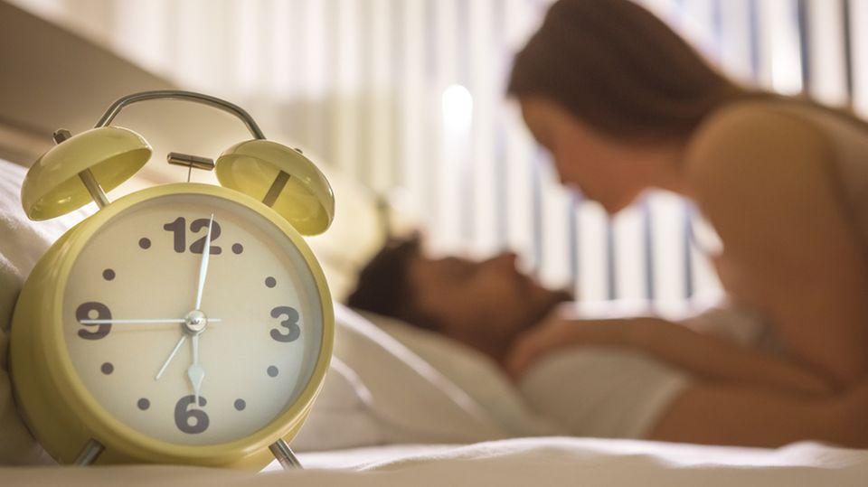 Sex, Wecker, Uhr, Schlafzimmer, Paar