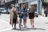 Streetstyle von drei Frauen auf der Copenhagener Fashion Week