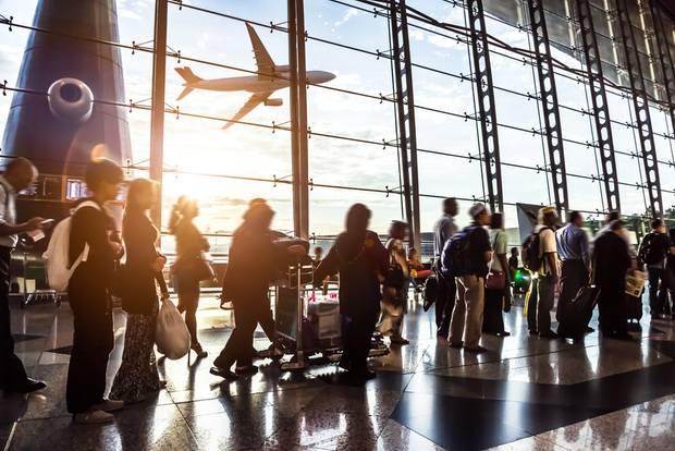 Flughafen, Reise, Schlange stehen