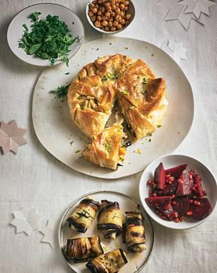 Kürbis-Tarte mit Butternut und Schafskäse