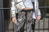 Streetstyle mit Pailletten-Hose von der London Fashion Week