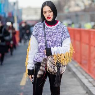 Fransen-Pullover als Streetstyle