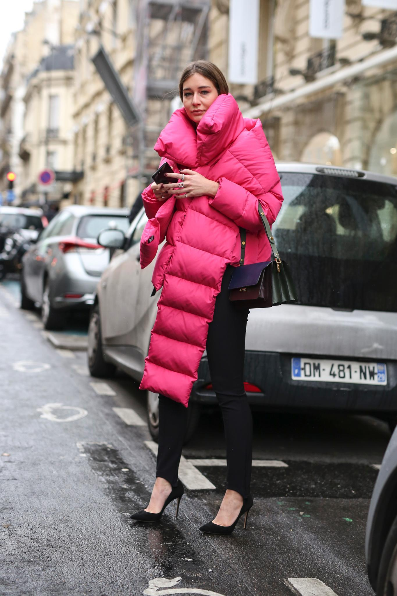 Steppjacke in Pink als Streetstyle