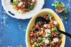 Caponata - süss-saures Gemüse mit Tagliatelle