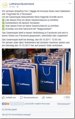 Vorsicht, Falle: Die Lufthansa verlost auf Facebook KEINE Malediven-Reise!