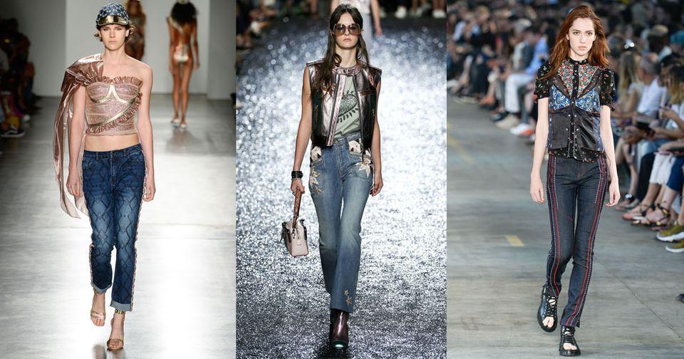 Denim-Trends 2018 auf dem Laufsteg mit verzierten Jeans