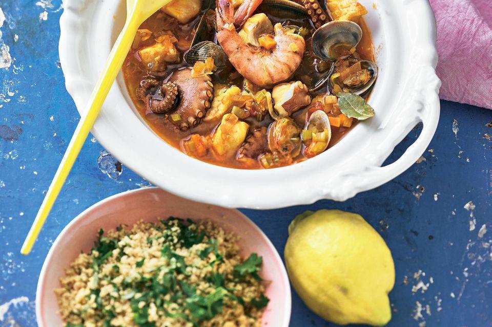 Meeresfrüchte-Ragout mit Kräuter-Couscous
