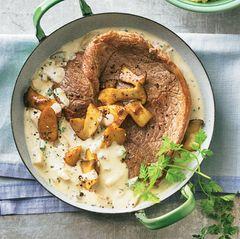 Kalbsschnitzel in Pilzrahm