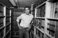 Barack Obama in der Uni-Bibliothek.
