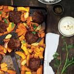 Lammfridellen auf Kürbis-Quitten-Gemüse