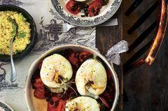 Kabeljau auf Tomaten-Auberginen-Gemüse mit Minz-Couscous
