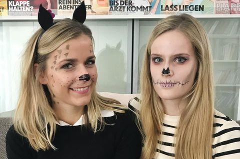 Karo und Laura mit Halloween Make-up