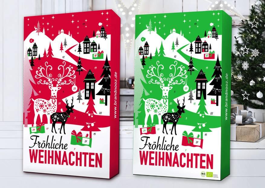 Diese Adventskalender hat man zum Fressen gern! Hinter 24 Türchen stecken nämlich leckere Lebensmittel zum Wegschnabulieren —und auch Bio-Fans kommen auf ihre Kosten. Denn neben dem altbekannten Kalender von brandnooz, gibt es jetzt auch noch einen Extra grünen Adventskalender mit ausgewählten Bio-Produkten. Egal für welchen Kalender ihr euch entscheidet: Ihr bekommt bestimmt Appetit aufs Weihnachtsfest!  Den Bio-Adventskalender gibt es für 65,99 Euro, den großformatige brandnooz Adventskalender gibt es für 39,99 Euro. Beide Modelle sind auf www.brandnooz.de erhältlich.