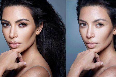Kim Kardashian mit und ohne Make-up