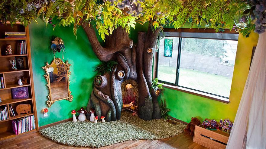 Papa verwandelt Kinderzimmer in Märchen-Traum