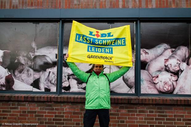 Ein Aktivist zeigt seine Meinung: auf einem Transparent vor der Lidl-Filiale.