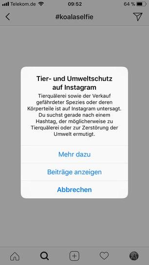 Instagram: Screenshot des Warnhinweises zur Suche nach Tier-Selfies
