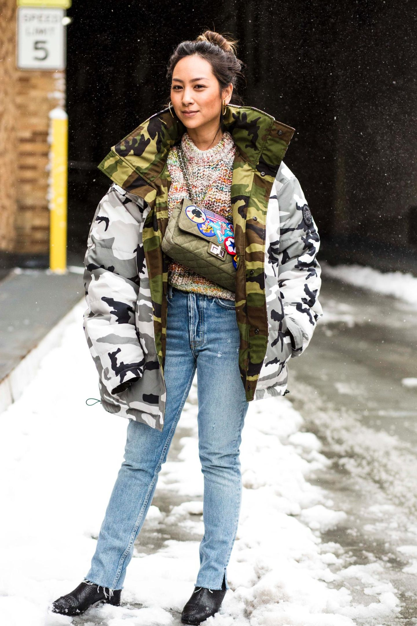 Wende-Parka mit Military-Muster