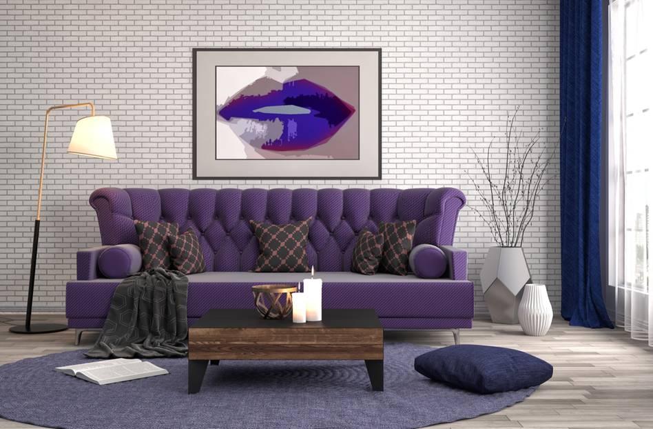 Wohnzimmer in Violett und Lila