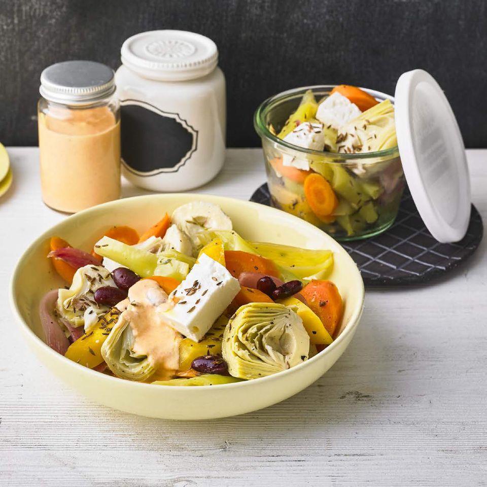Warme Gemüse-Antipasti mit Fetacreme