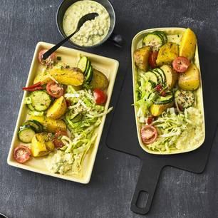 Röstkartoffelsalat mit Cottage Cheese