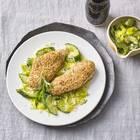 Sesam-Schnitzel mit Ingwer-Gurken