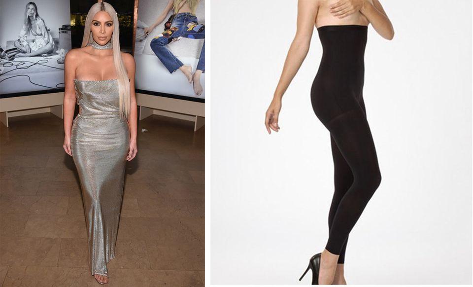 Kim Kardashian in Kleid und Strumpfhosen