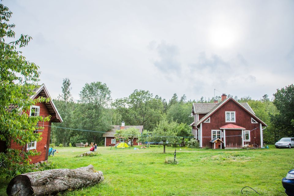 Hier entspannt man nach dem Wanderreiten: Die gemütlichen Holzhäuser auf dem Pferdehof Kalvefalls.