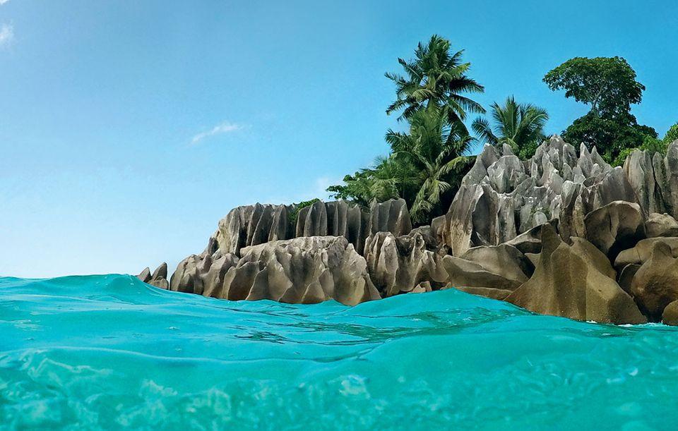Felsen, Kokospalmen, leuchtend blaues Wasser: Das winzige Coco Island ist ein wahr gewordener Tropentraum. Hier kann man wunderbar schnorcheln, denn ein Korallenriff mit unzähligen Fischen umgibt die Insel.