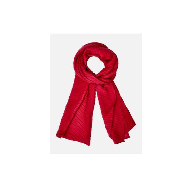 Roter Long-Schal mit hübschen Mini-Plissees. Über About You, um 23 Euro.
