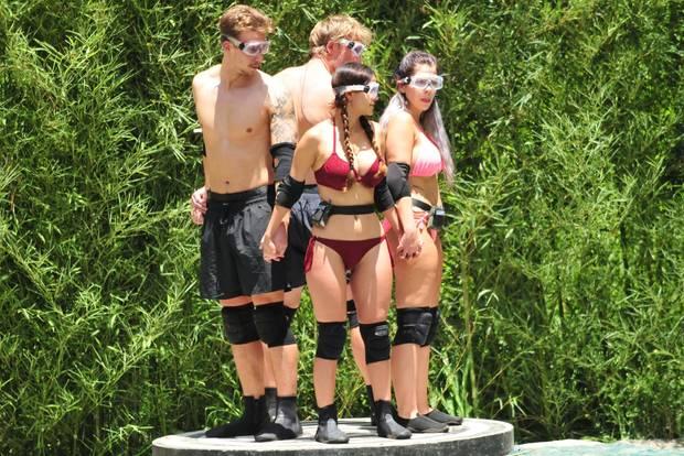 David, Ansgar, Kattia und Jenny müssen zur Dschungelprüfung antreten.