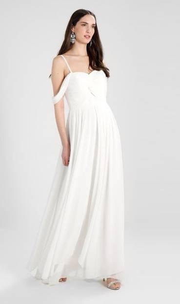 ... kommt dieses Brautkleid daher. Mit 130 Euro ist dies vergleichsweise günstig zu shoppen. Über Zalando.