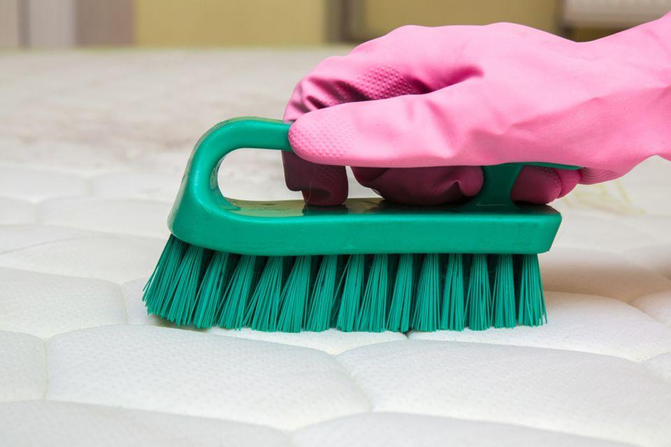 Matratze reinigen: Mit Bürste reinigen